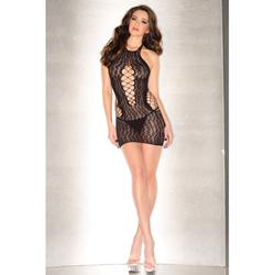 Net Dress With Fishnet Details And Leopard print -2