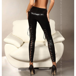 Daiva Legging With Lacing And Leather Look