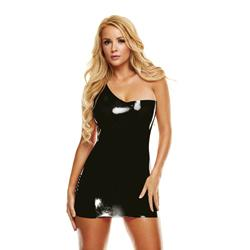 Premium Latex Off-Shoulder Mini Dress - Black