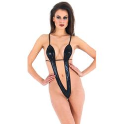 Vixson Minimalistische Wetlook Body - Zwart