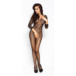Black fishnet catsuit with open crotch