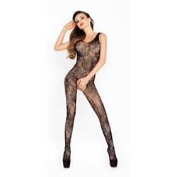 Open crotch catsuit black