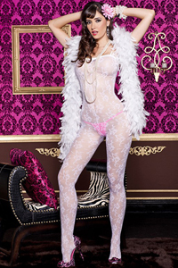 Witte transparante catsuit