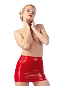 Minirock aus Latex in Rot