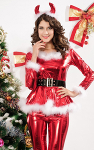 4-teiliges Fluffy Santa Girl Costume in Rot