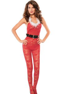 Fiery Red Xmas Lace Catsuit includes belt