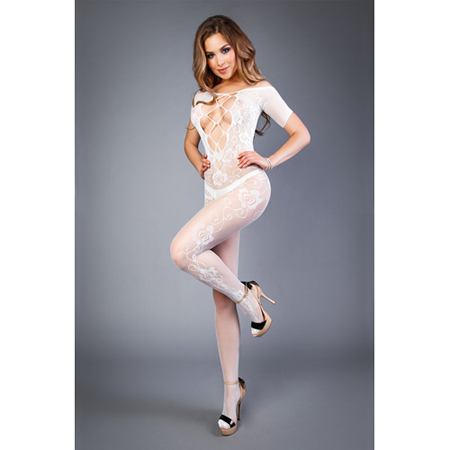 Open Catsuit Met Visnet Decolleté - Wit