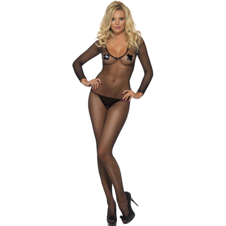 Zwarte visnet bodystocking