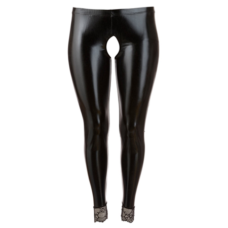 Open kruis wetlook legging
