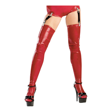 Sexy latex kousen rood