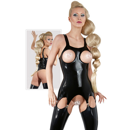 Latex open jarretel top