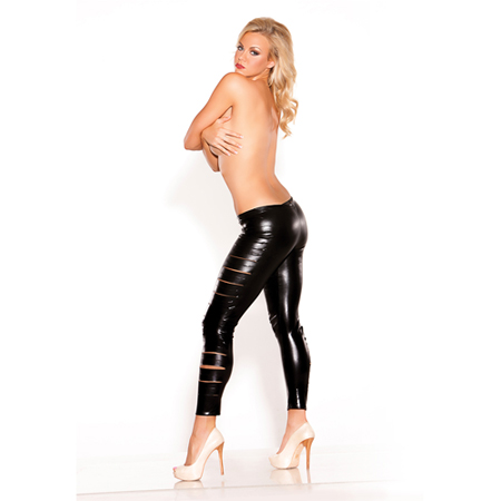 Zwarte Wetlook Leggings