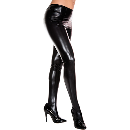 Wetlook Metallic Panty - Zwart