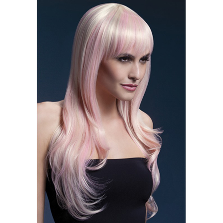 Lange blonde pruik met roze highlights
