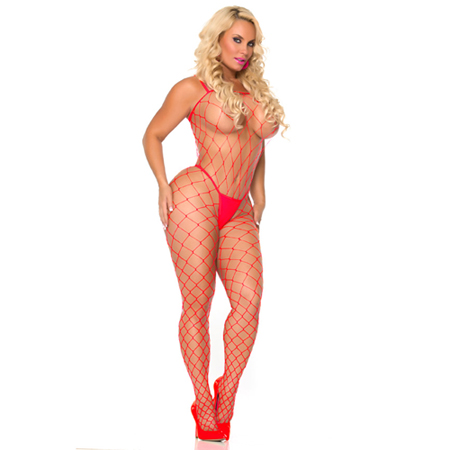 Visnet bodystocking - Rood