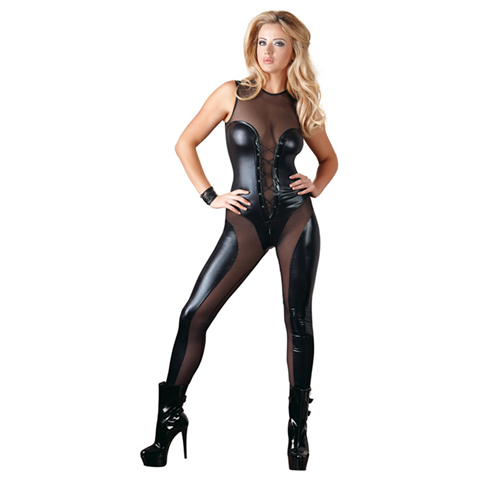 Wetlook catsuit met gaas