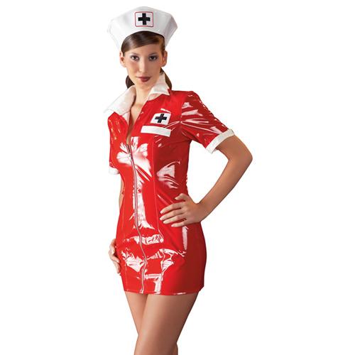 Vinyl Nurse Dress red image