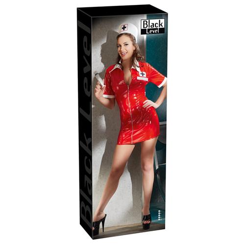 Vinyl Nurse Dress red image .3