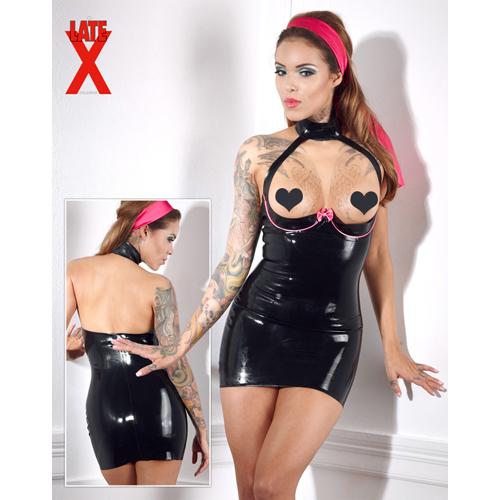 Zwarte latex mini-jurk met beugel-bh