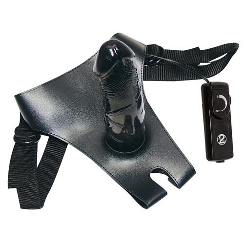 Black strap-on voorbind dildo
