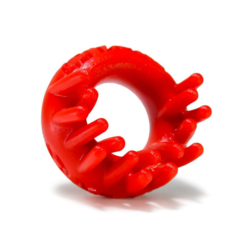 Oxballs Cock Ring With Clit Stimulator - Red image