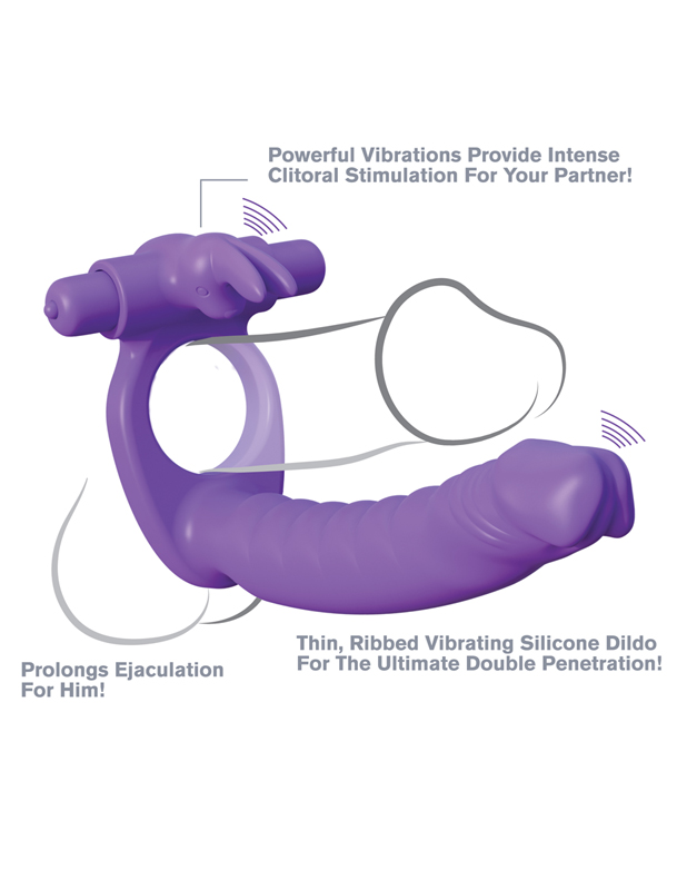 Double Penetrator Rabbit Cockring Met Dildo