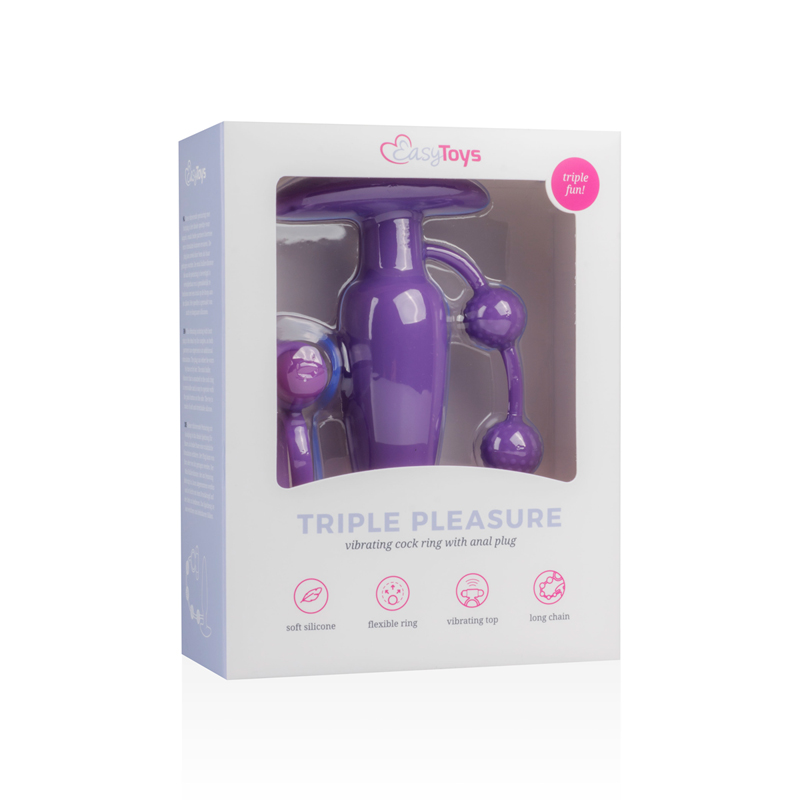 Triple Pleasure Cockring Met Plug