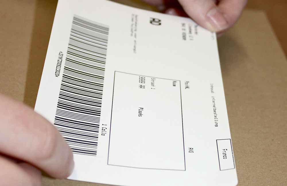 Voorbeeld van een adressticker